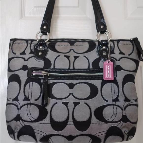 Coach Handbags - COACH SIGNATURE GLAM JACQUARD BLACK & SILVER TOTE